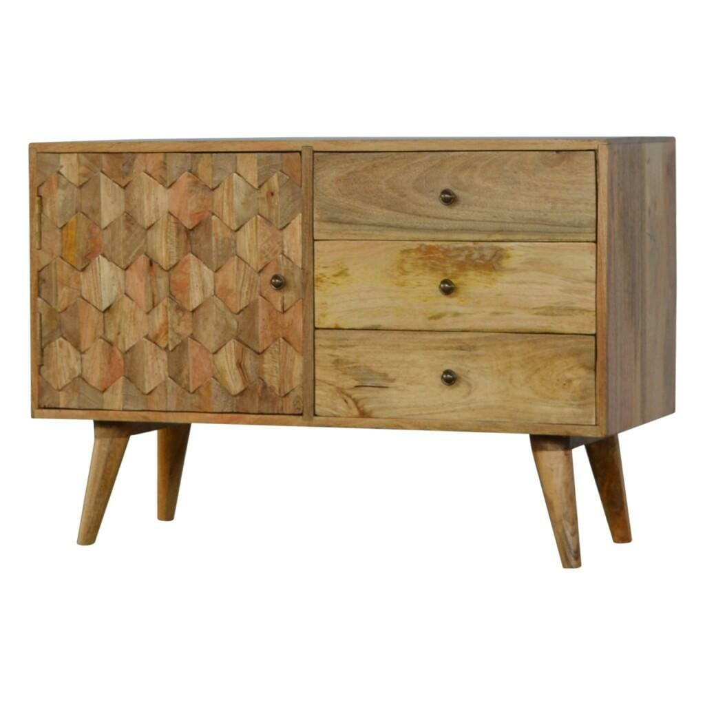 3 Drawer Solid Wood Cabinet with Pineapple Carved Door Front