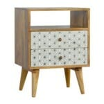 2 Drawer Geometric Screen-Printed Bedside with Open Slot 2