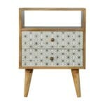 2 Drawer Geometric Screen-Printed Bedside with Open Slot 1