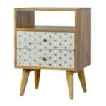 2 Drawer Geometric Screen-Printed Bedside with Open Slot 3