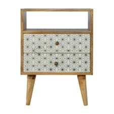 2 Drawer Geometric Screen-Printed Bedside with Open Slot