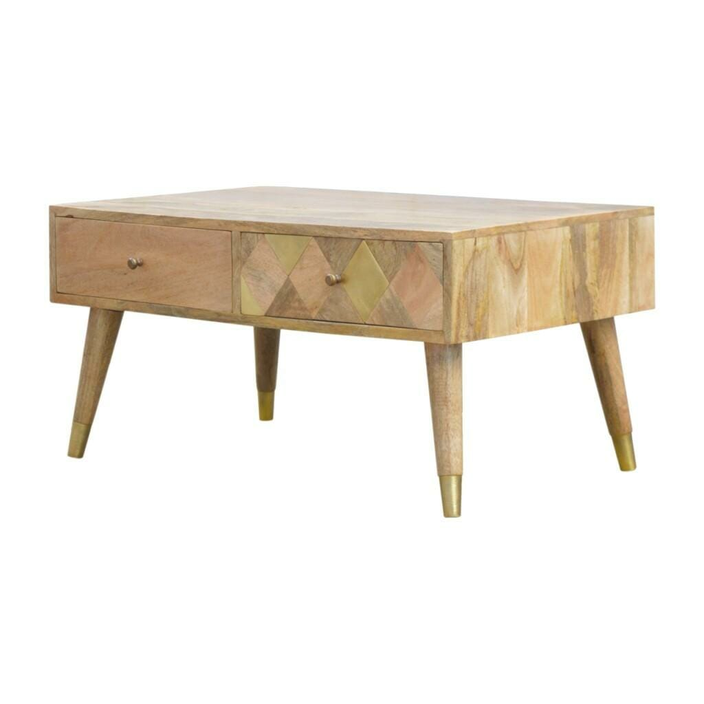 Solid Wood 2 Drawer Coffee Table with Gold Brass Insert Drawer Front