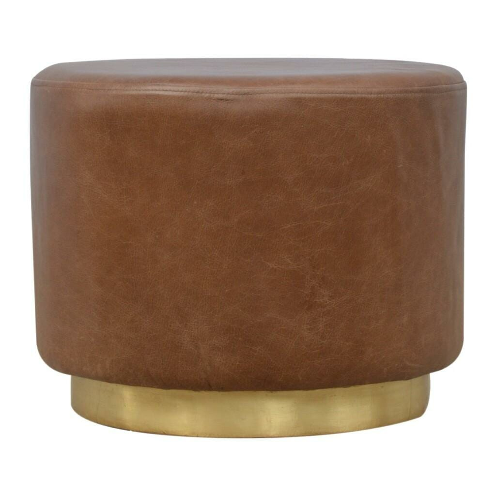 Brown Tan Leather Round Gold Base Footstool