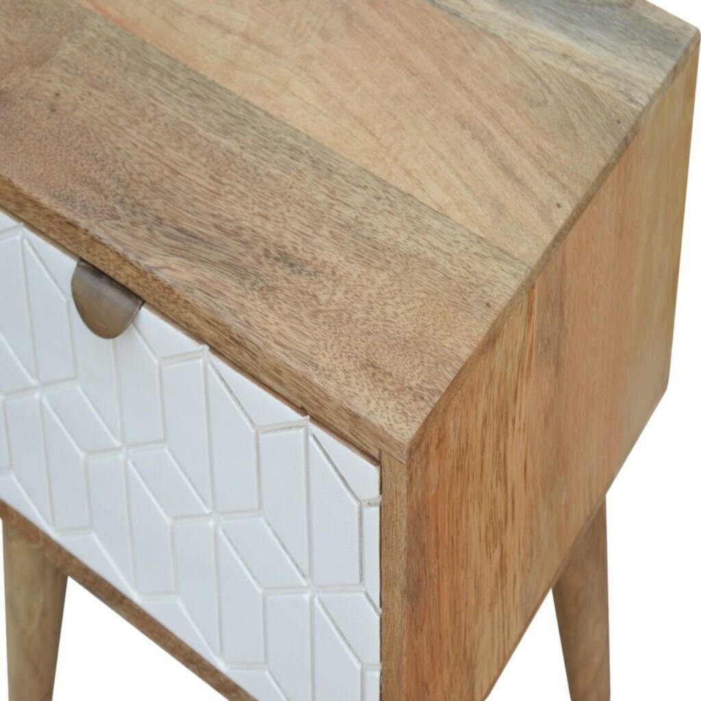 White Painted Geo Bedside