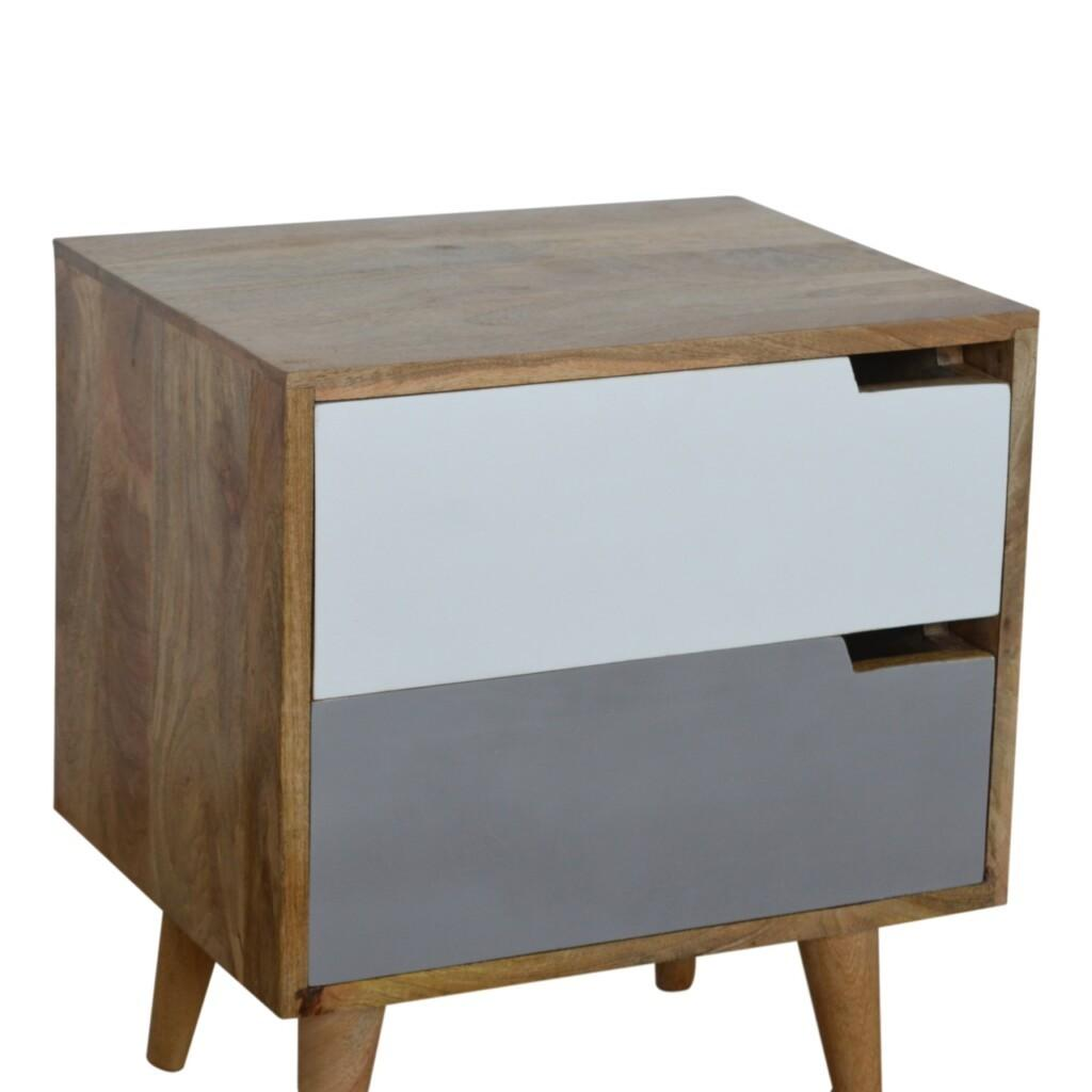 Grey Painted Bedside with Cut out Slots