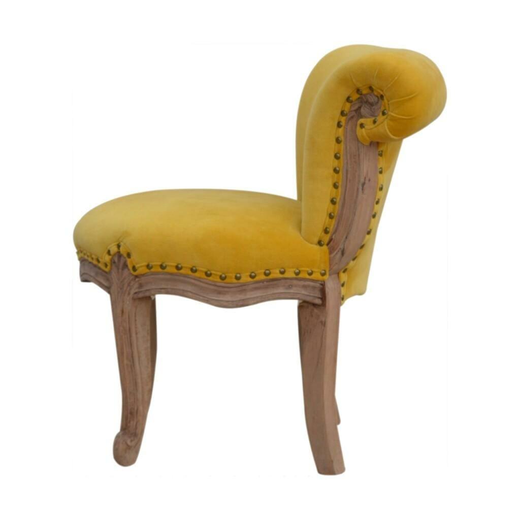 Petite French Chair In Mustard Velvet