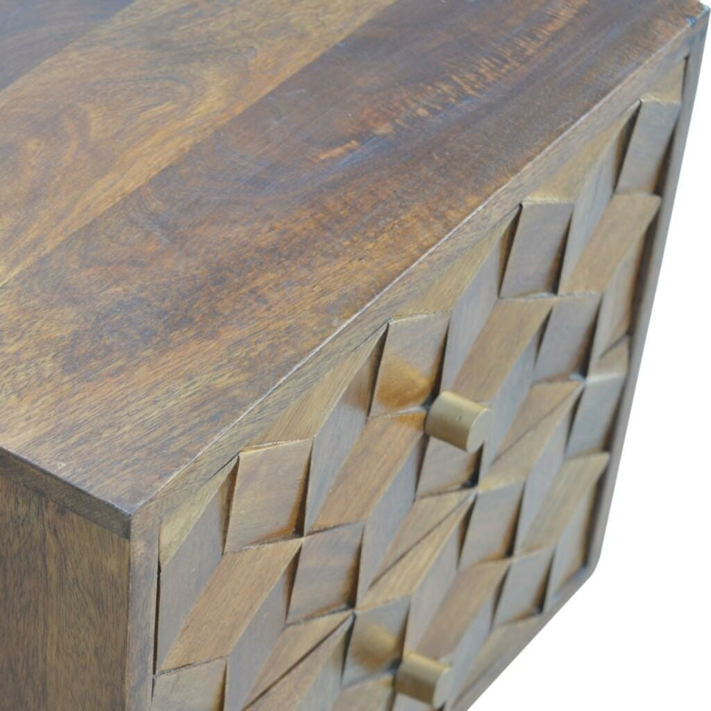 Chestnut Cube Curved Bedside with 2 Drawers