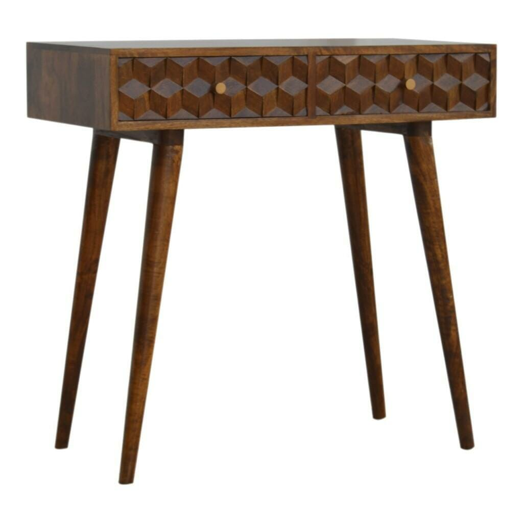 Chestnut Cube Carved Console Table with 2 Drawers