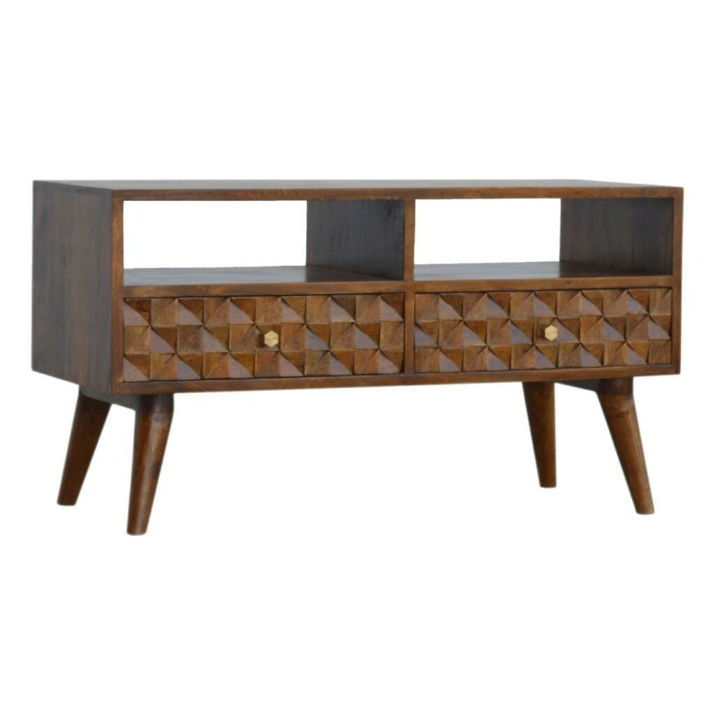 Chestnut Diamond Carved Media Unit with 2 Drawers