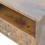 Chestnut Diamond Carved Media Unit with 2 Drawers 5