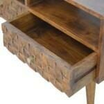 Chestnut Diamond Carved Media Unit with 2 Drawers 7