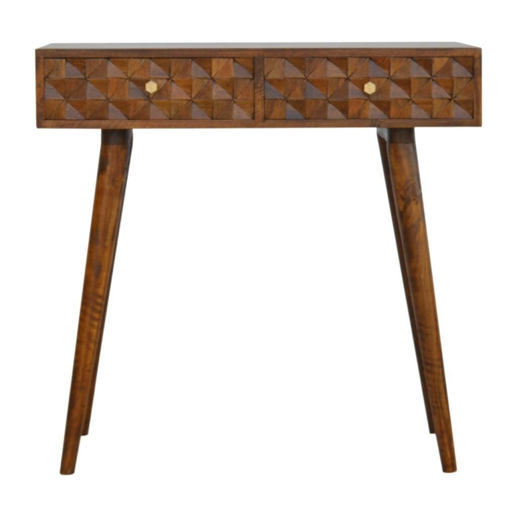 Chestnut Diamond Carved Console Table with 2 Drawers