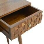 Chestnut Diamond Carved Console Table with 2 Drawers 4