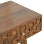 Chestnut Diamond Carved Console Table with 2 Drawers 7