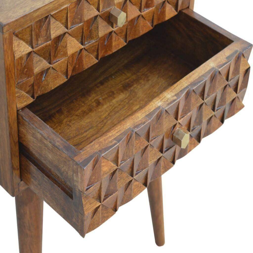 Chestnut Diamond Carved 1 Drawer Bedside