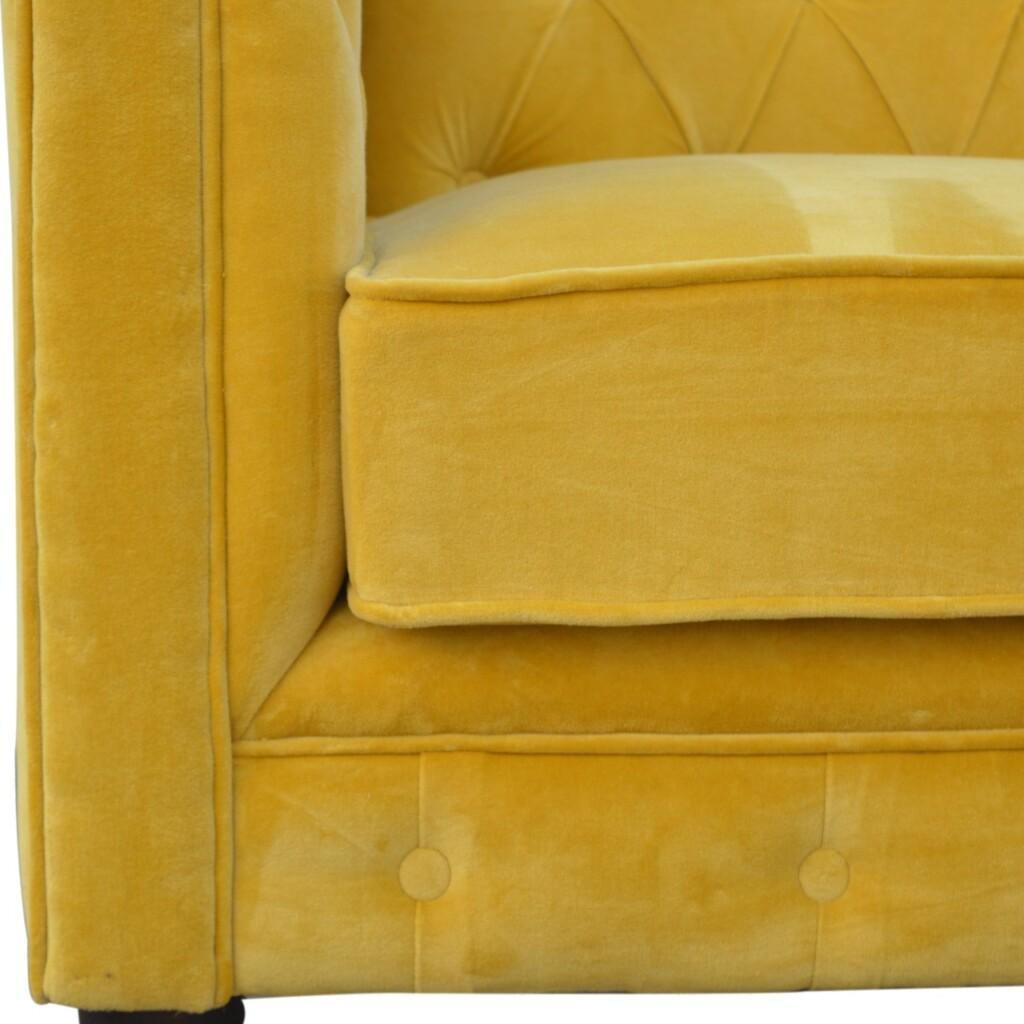 Mustard Velvet 2 Seater Chesterfield Sofa