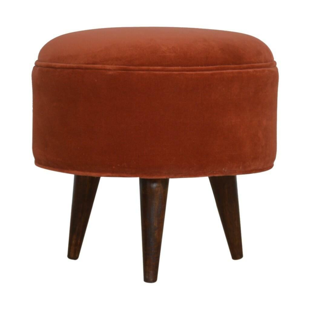 Brick Red Velvet Nordic Style Footstool