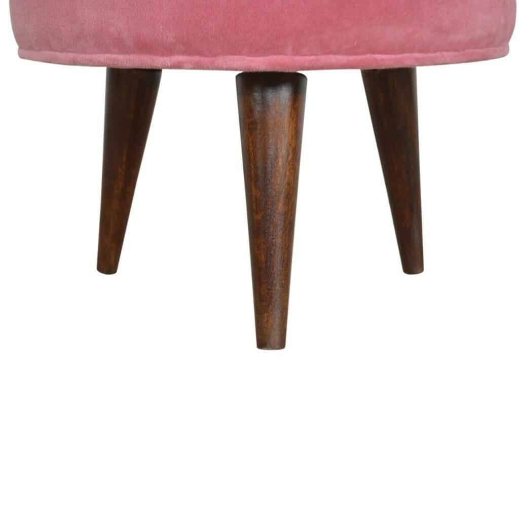 Pink Velvet Nordic Style Footstool