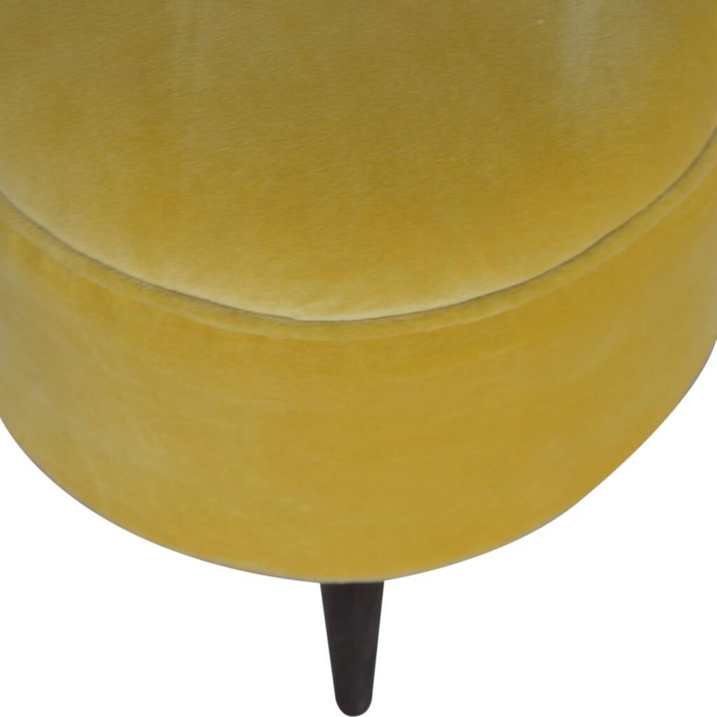 Mustard Velvet Nordic Style Footstool