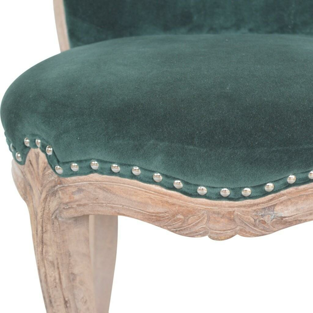 Emerald Velvet Studded Chair with Cabriole Legs