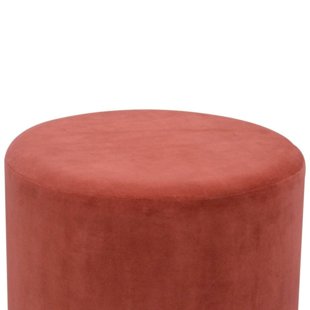 Rust Velvet Footstool with Gold Base