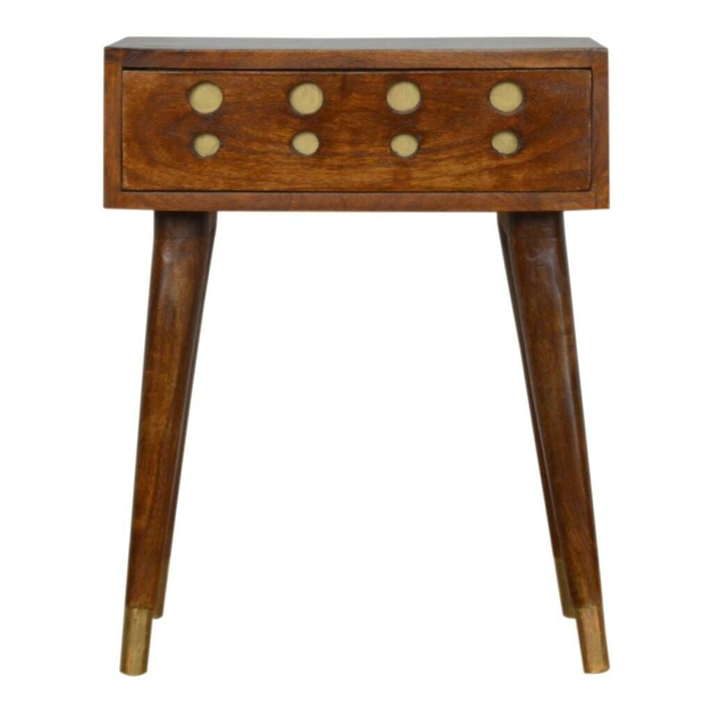 Chestnut Brass Inlay Cut Out Bedside