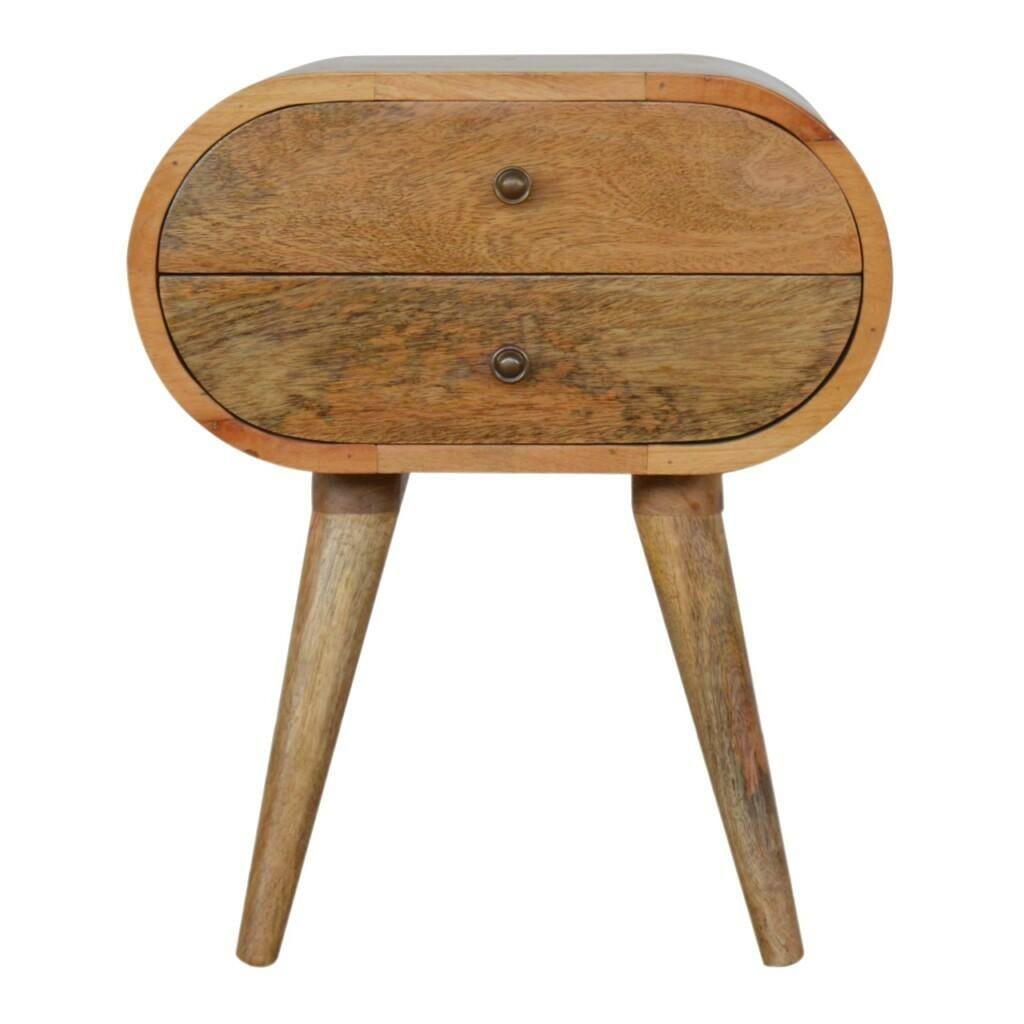 Circular Oval 2 Drawer Bedside Solid Mango Wood