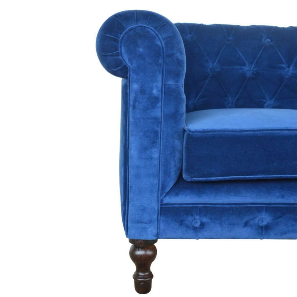 Royal Blue Velvet Chesterfield Sofa