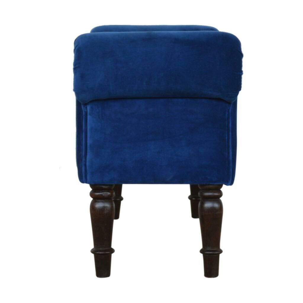Royal Blue Velvet Bench with Turned Feet