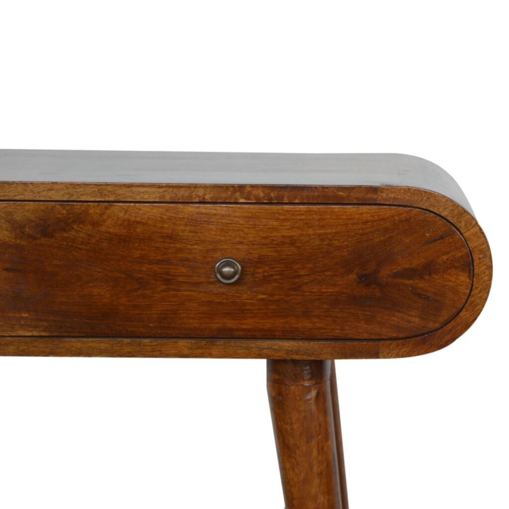 Chestnut Curved Edge Console Table