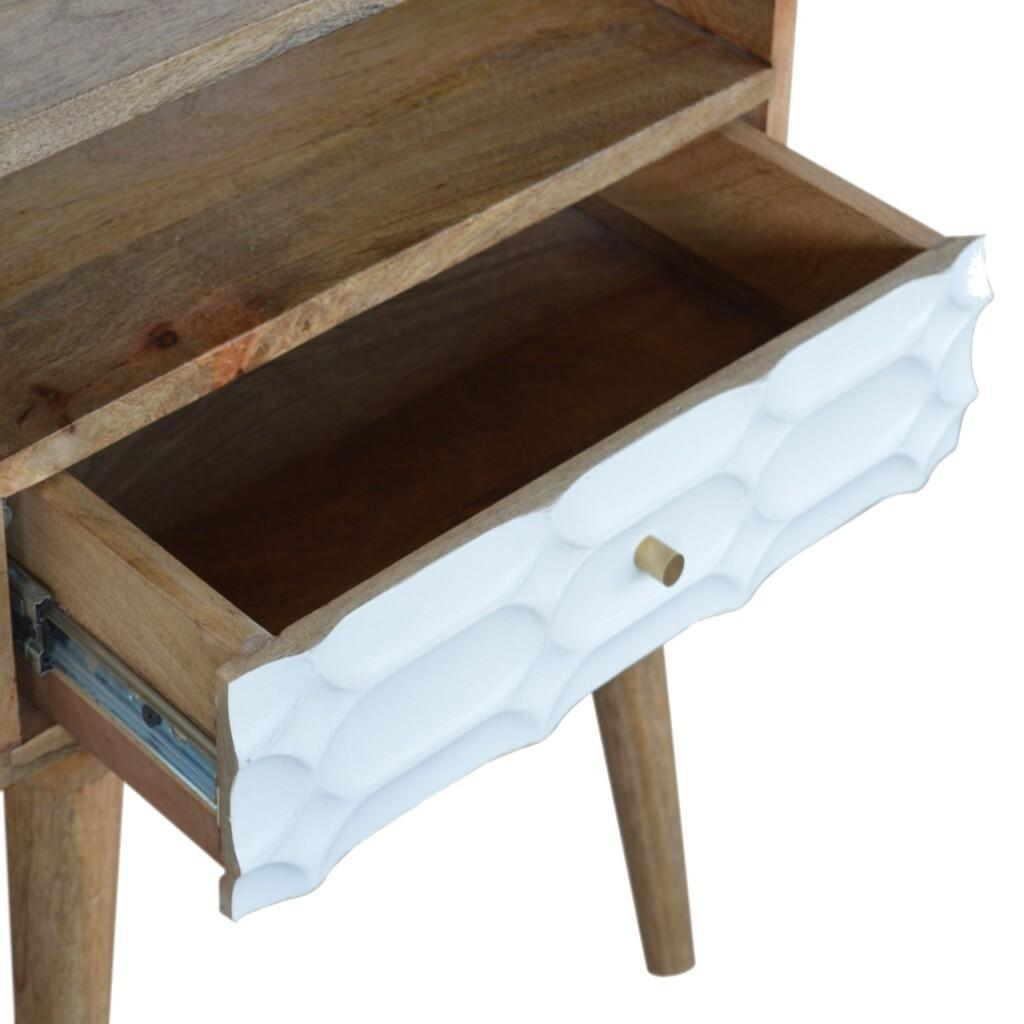 Capsule Carved Bedside with Open Slot
