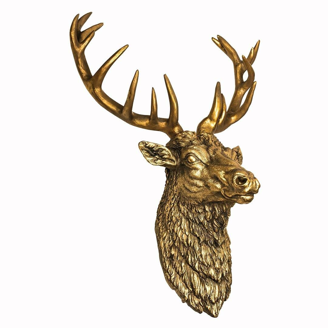 Antiqued Gold Stag's Head