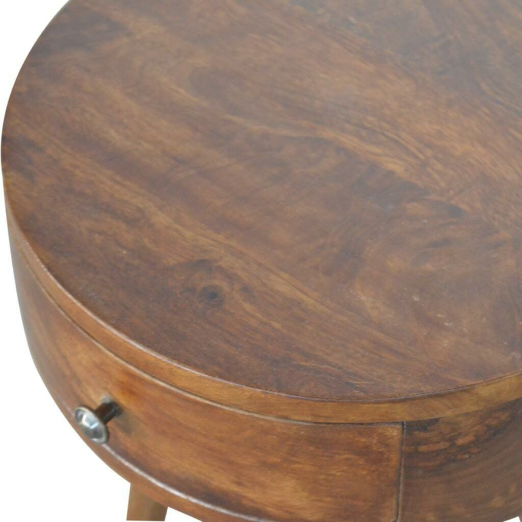Nordic Chestnut Circular Shaped Bedside