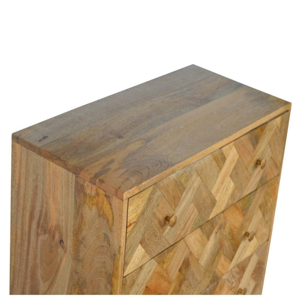 3 Drawer Zig-Zag Patterned Patchwork Chest
