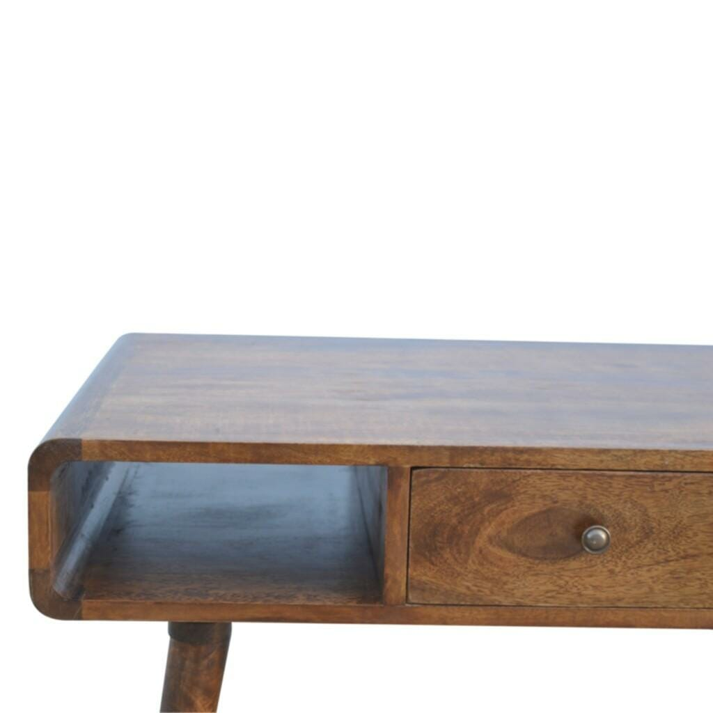 1 Drawer Curved Coffee Table Solid Mango Wood