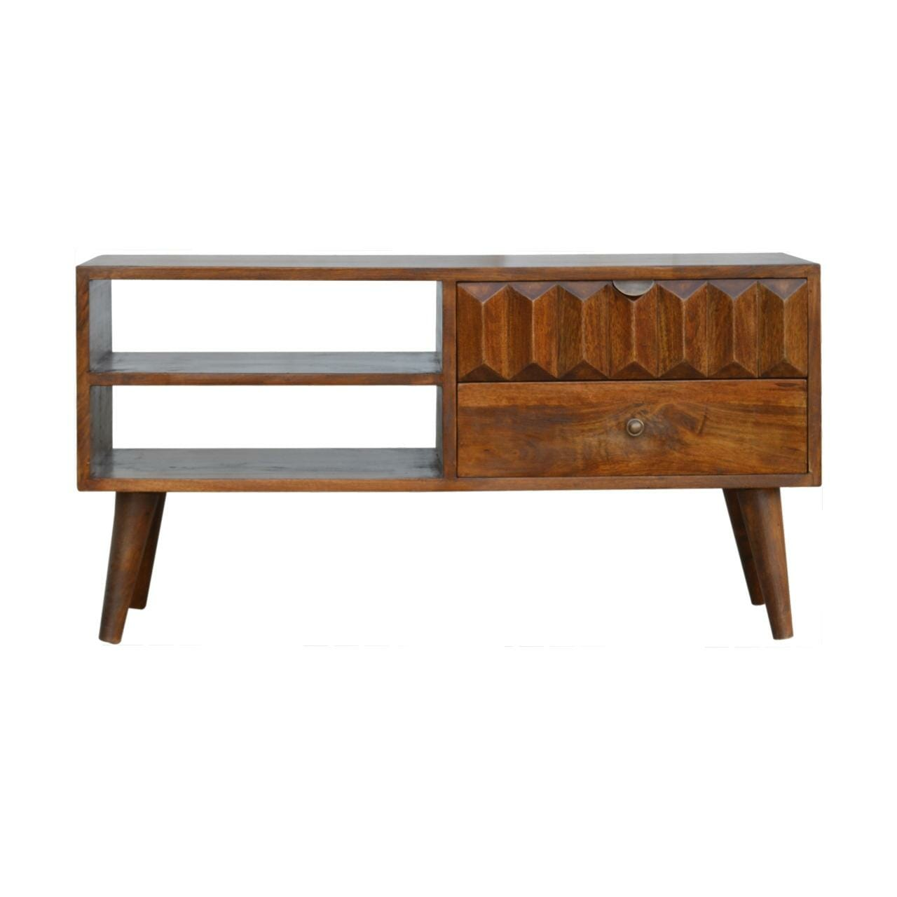 Solid Wood Media Unit with Carved Drawer Front