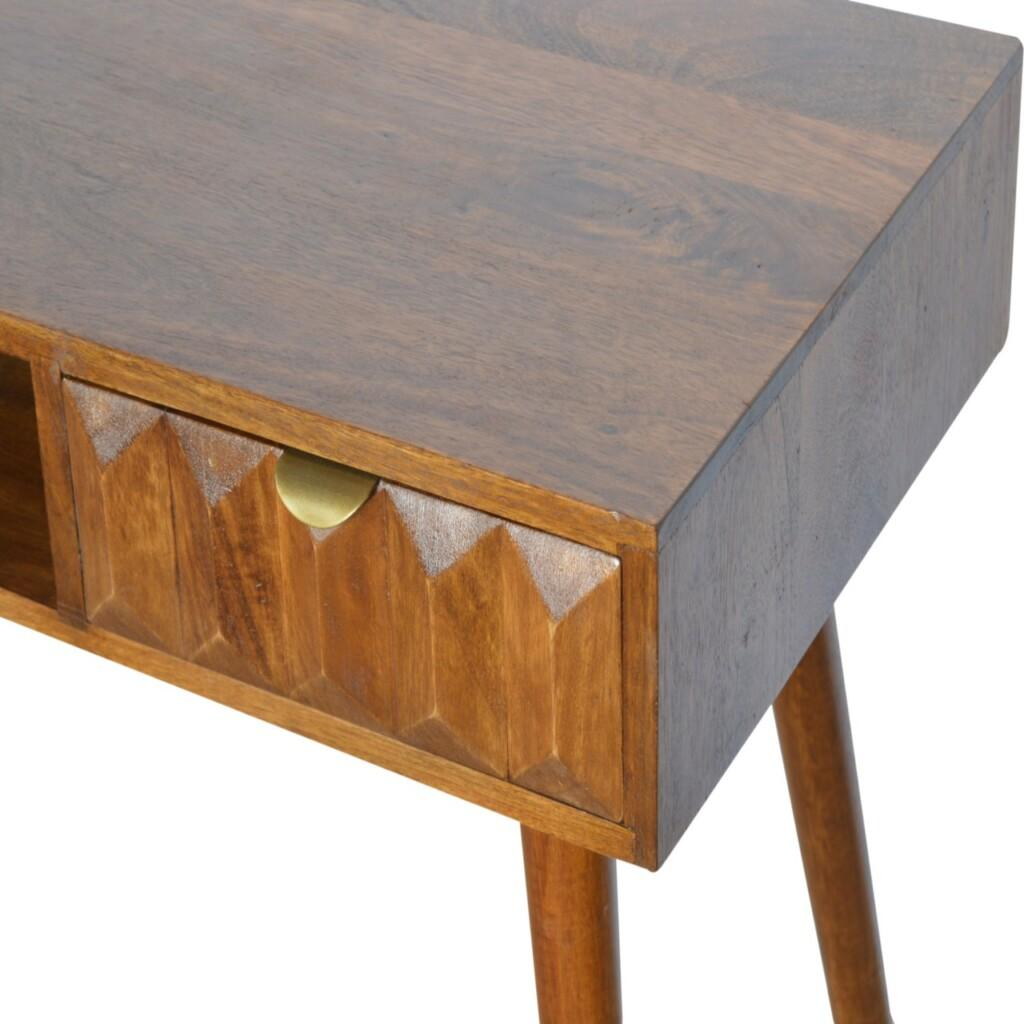 Solid Wood Writing Desk with Carved Drawer Front