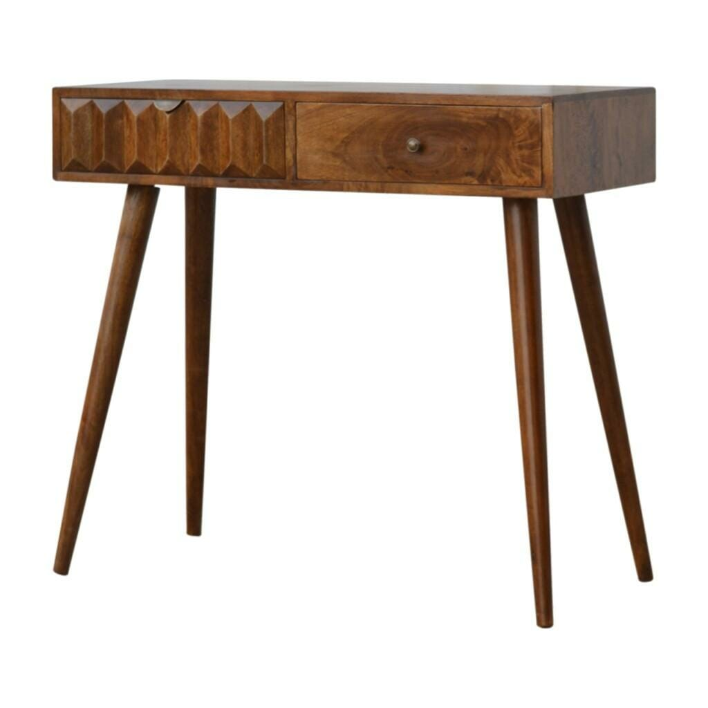 Solid Wood Console Table with Carved Drawer Front