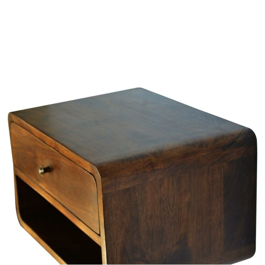Curved Style 1 Drawer Wall Mounted Chestnut Bedside