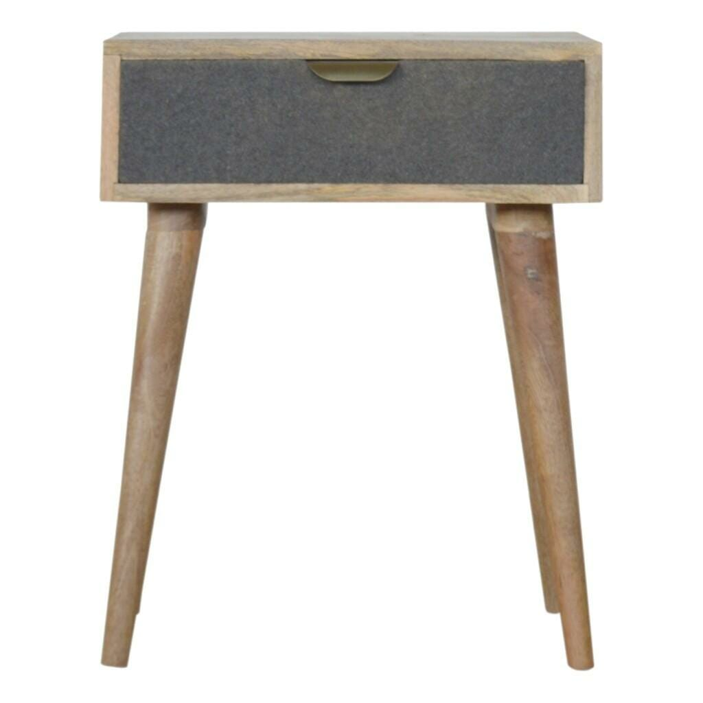 Light Wood Grey Tweed Bedside Table With Drawer