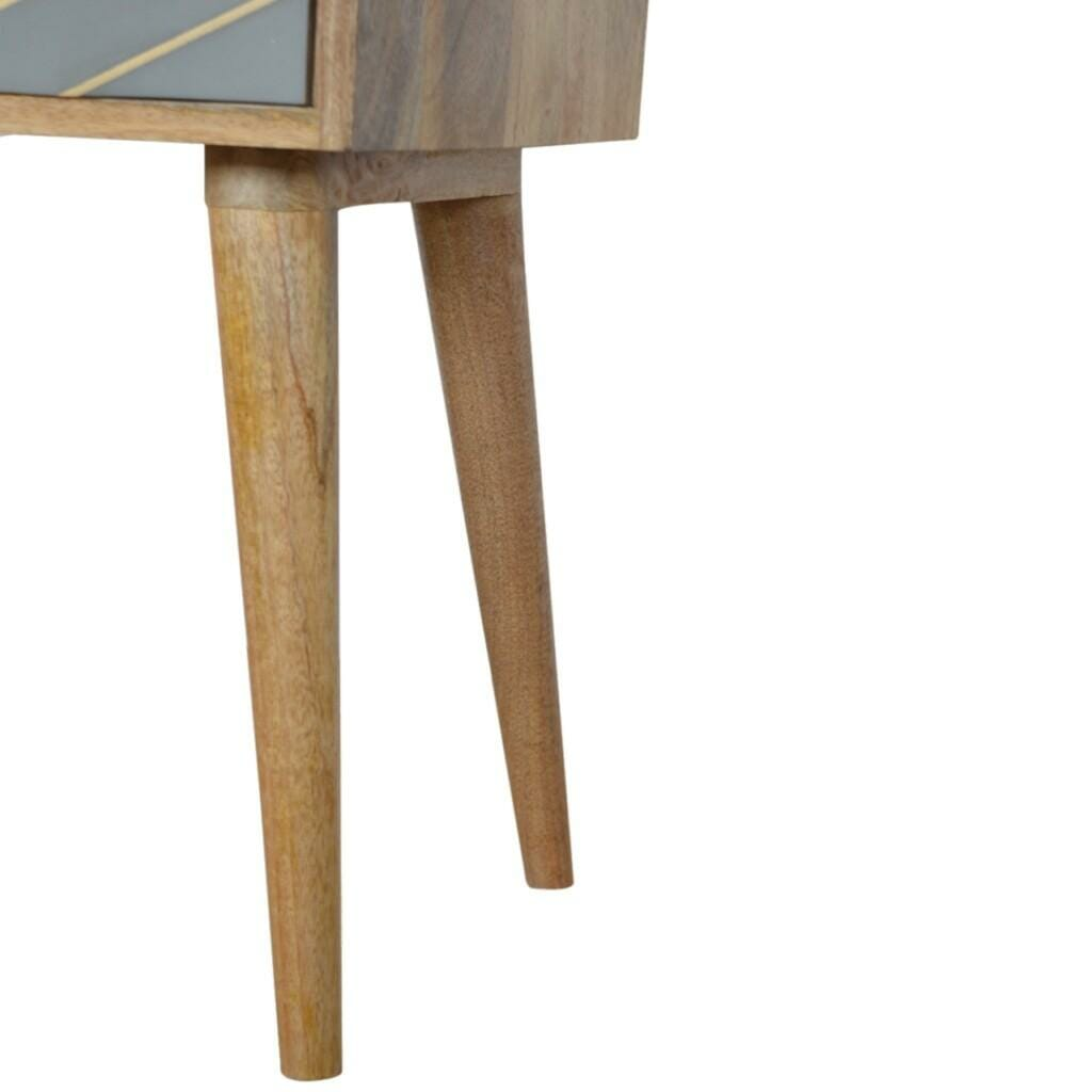 One Drawer Bedside Cement With Brass Inlay