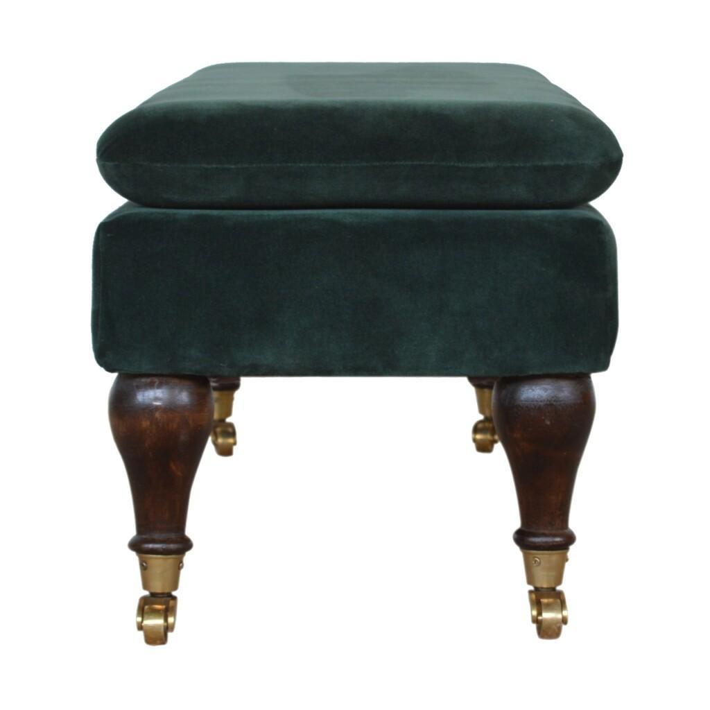 Green Velvet Storage Bench with Castor Legs