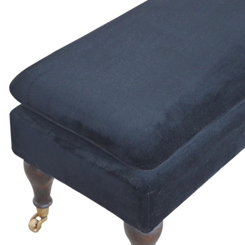 Black Velvet Storage Bench with Castor Legs