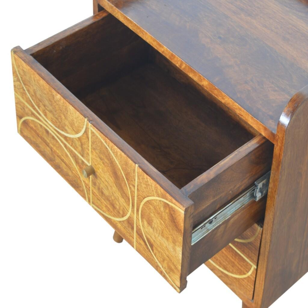 Chestnut Gold Inlay Abstract Bedside