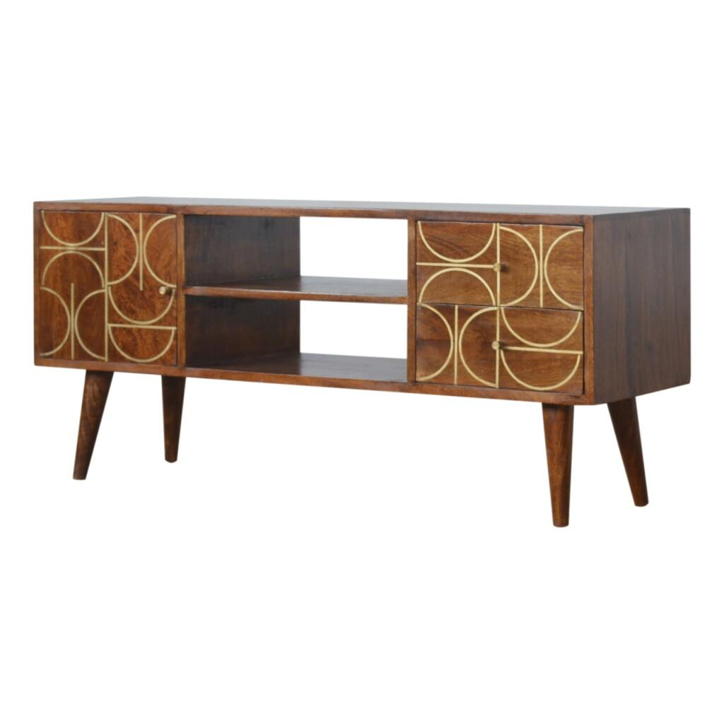 Chestnut Gold Inlay Abstract Media Unit