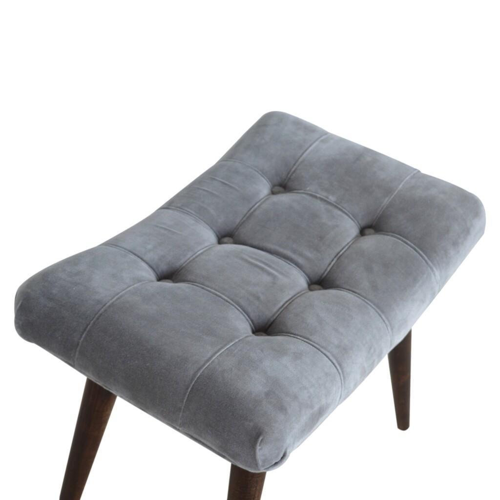 Grey Velvet Deep Button Bench