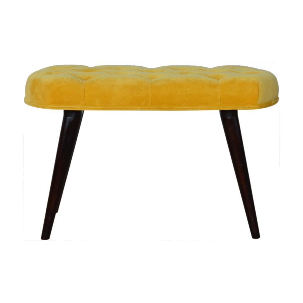 Mustard Mustard Cotton Velvet Deep Button Bench 78cm Velvet Deep Button Bench