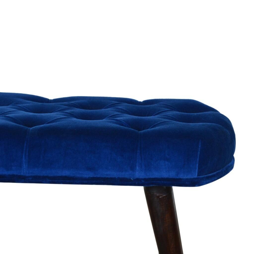 Royal Blue Cotton Velvet Deep Button Bench