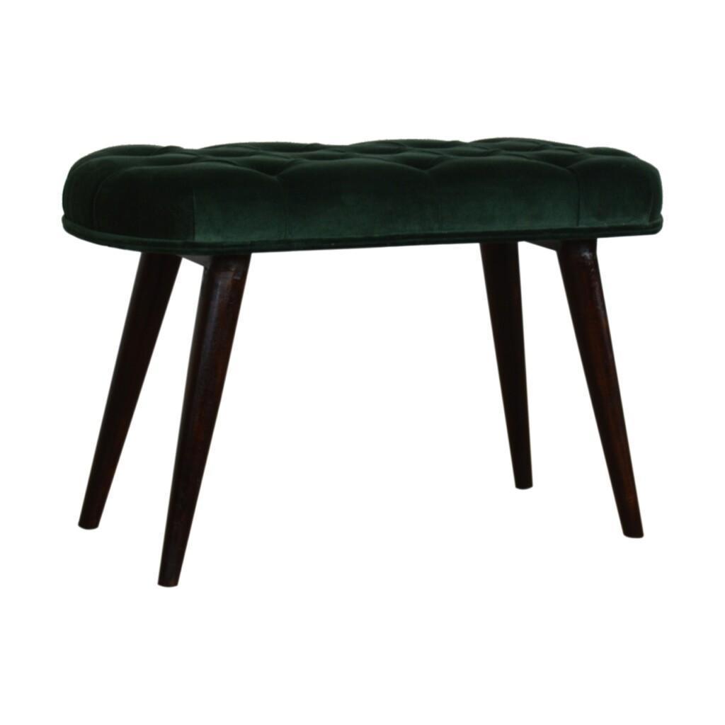 Emerald Cotton Velvet Deep Button Bench