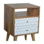 Honeycomb Carved Bedside with 2 Drawers and Open Slot 2